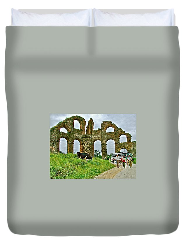 Cow By Second Century Aspendos Aqueduct Duvet Cover featuring the photograph Cow By Second Century Aspendos Aqueduct-turkey by Ruth Hager