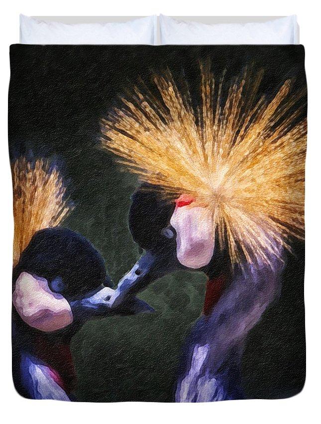 Bird Duvet Cover featuring the photograph Crane 14 by Ingrid Smith-Johnsen