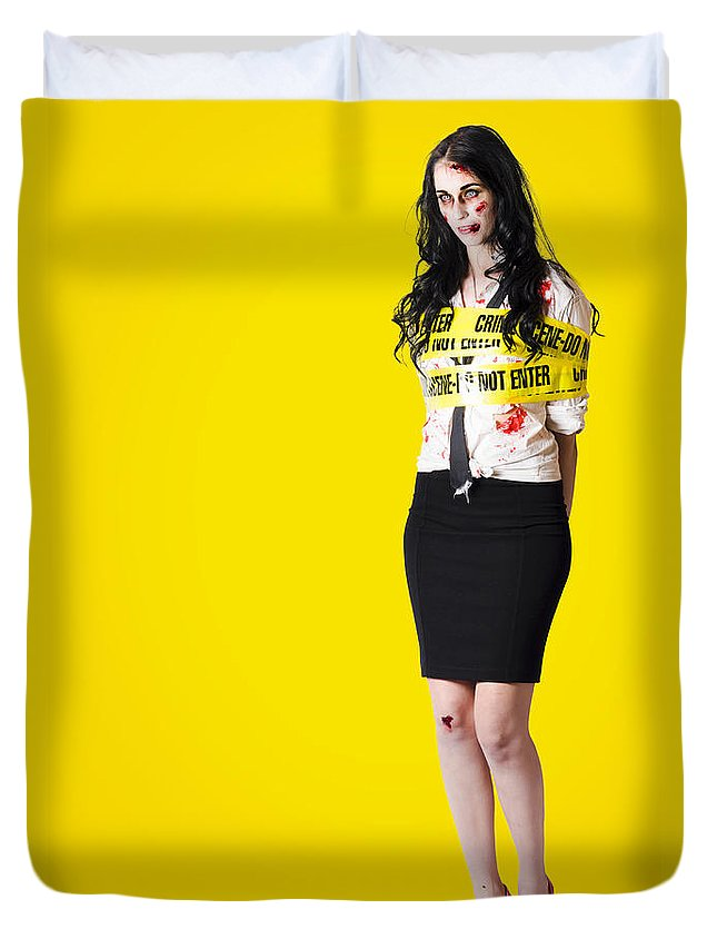 Background Duvet Cover featuring the photograph Creepy Homicide Girl Standing Undead On Yellow by Jorgo Photography - Wall Art Gallery