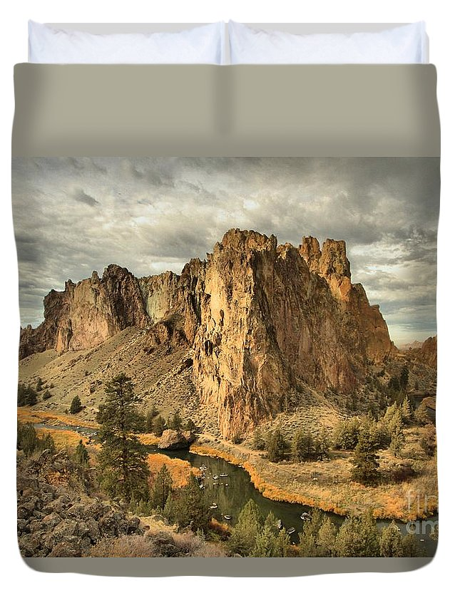 Smith Rock Duvet Cover featuring the photograph Crooked River Bend by Adam Jewell