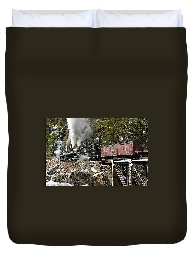 Steam Train Duvet Cover featuring the photograph Crossing The High Bridge by Ken Smith