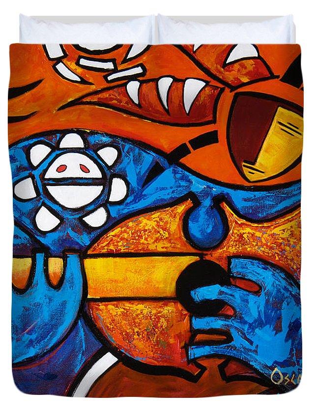 Puerto Rico Duvet Cover featuring the painting Cuatro En Grande by Oscar Ortiz