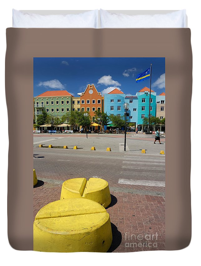Willemstad Duvet Cover featuring the photograph Curacaos Colorful Architecture by Amy Cicconi