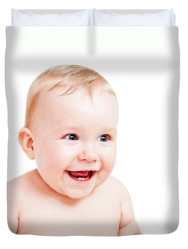 Baby Duvet Cover featuring the photograph Cute Happy Baby Laughing On White by Michal Bednarek