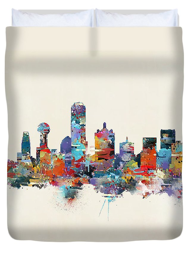 Dallas City Skyline Duvet Cover featuring the painting Dallas Texas Skyline by Bri Buckley