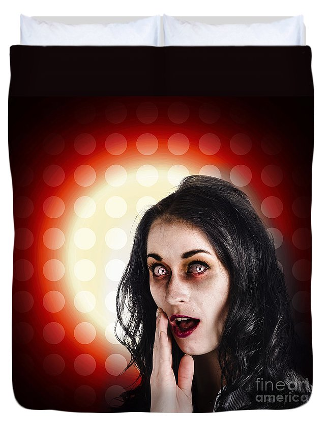 Amazement Duvet Cover featuring the photograph Dark Portrait Of A Zombie Girl In Shock Horror by Jorgo Photography - Wall Art Gallery