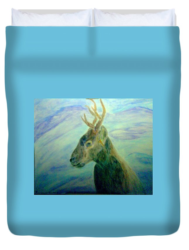 Deer Duvet Cover featuring the mixed media Deer At Home by Suzanne Berthier