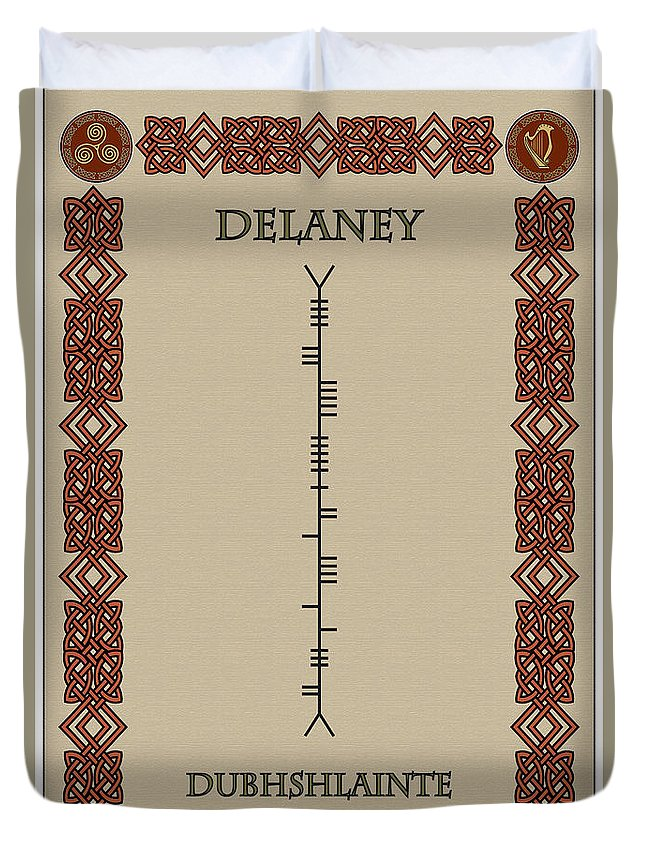 Delaney Duvet Cover featuring the digital art Delaney Written In Ogham by Ireland Calling