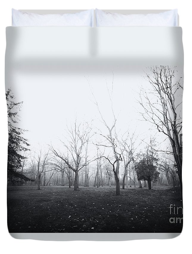 Trees; Woods; Forest; Grass; Yard; Park; Dead; Death; Stark; Day; Daytime; Burned; Burnt; Autumn; Fall; Winter; Tall; Black; White; Black And White; Atmospheric; Haunted; Horror; Mystery; Mysterious; Nature; Rural; Sky Duvet Cover featuring the photograph Desolate by Margie Hurwich