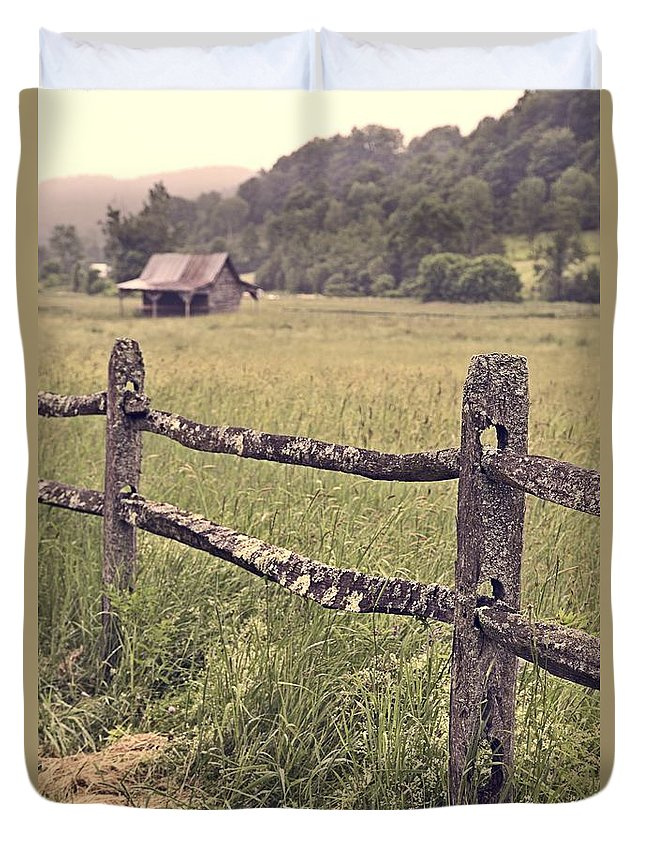 Fence Duvet Cover featuring the photograph Down On The Farm by Edward Fielding