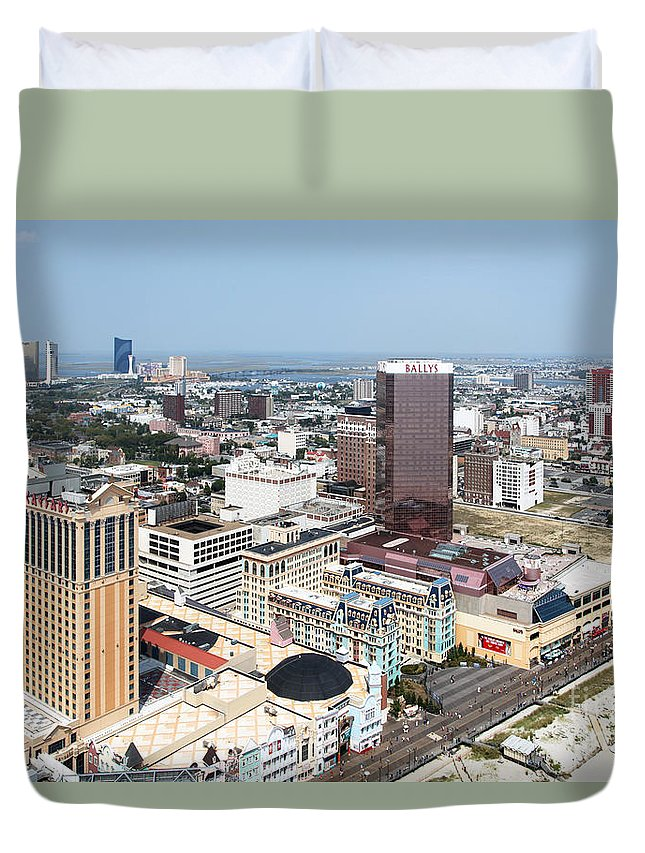Aerial Duvet Cover featuring the photograph Downtown Atlantic City by Bill Cobb
