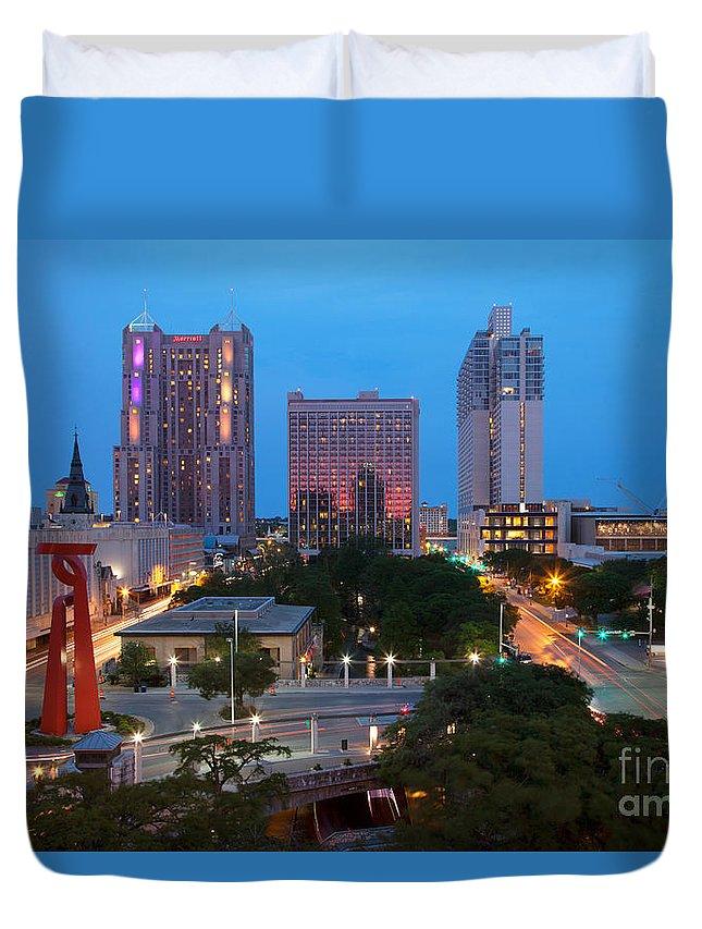 San Antonio Duvet Cover featuring the photograph Downtown San Antonio Texas Skyline by Bill Cobb