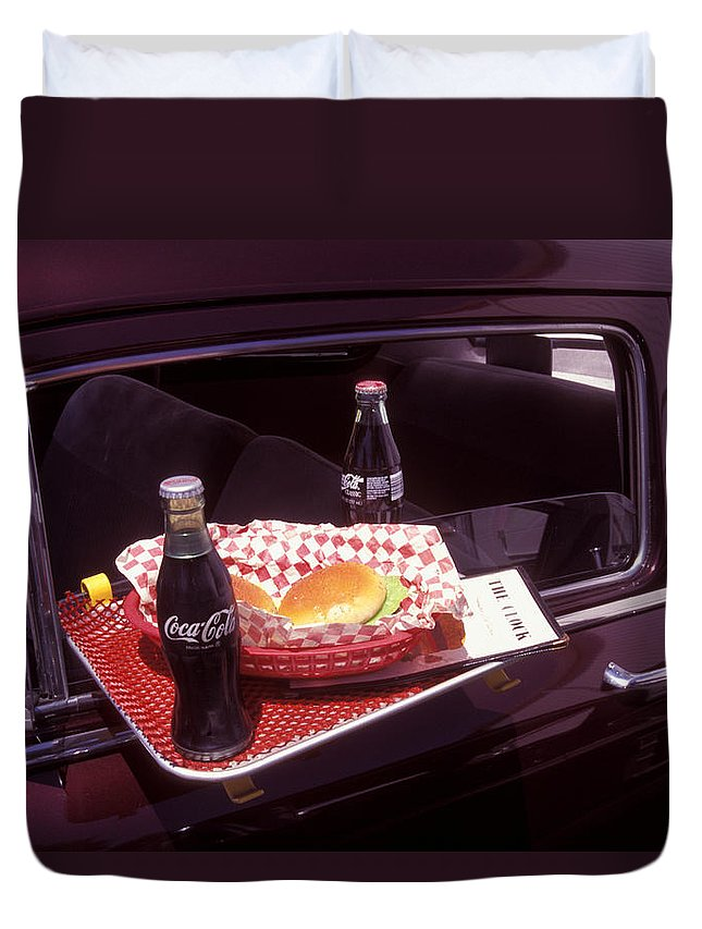 Drive-in Duvet Cover featuring the photograph Drive-in Coke And Burgers by Paul W Faust - Impressions of Light