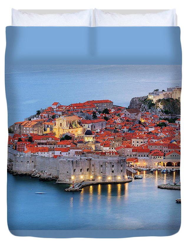 Scenics Duvet Cover featuring the photograph Dubrovnik City Skyline At Dawn by Pixelchrome Inc