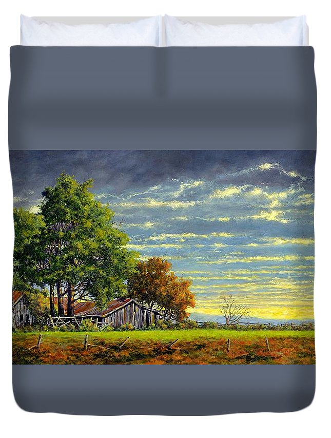 Landscape Duvet Cover featuring the painting Dusk by Jim Gola