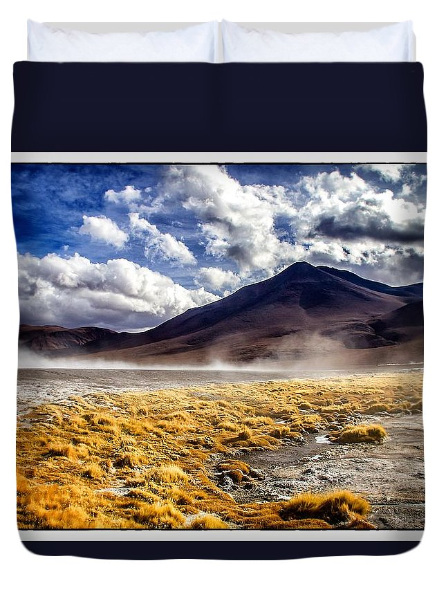Dusty Duvet Cover featuring the photograph Dusty Desert Road Bolivia by For Ninety One Days