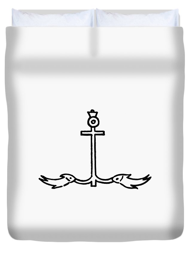 3rd Century Duvet Cover featuring the painting Early Christian Symbol by Granger