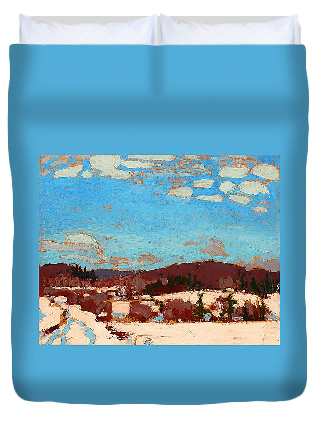 Painting Duvet Cover featuring the painting Early Spring by Mountain Dreams