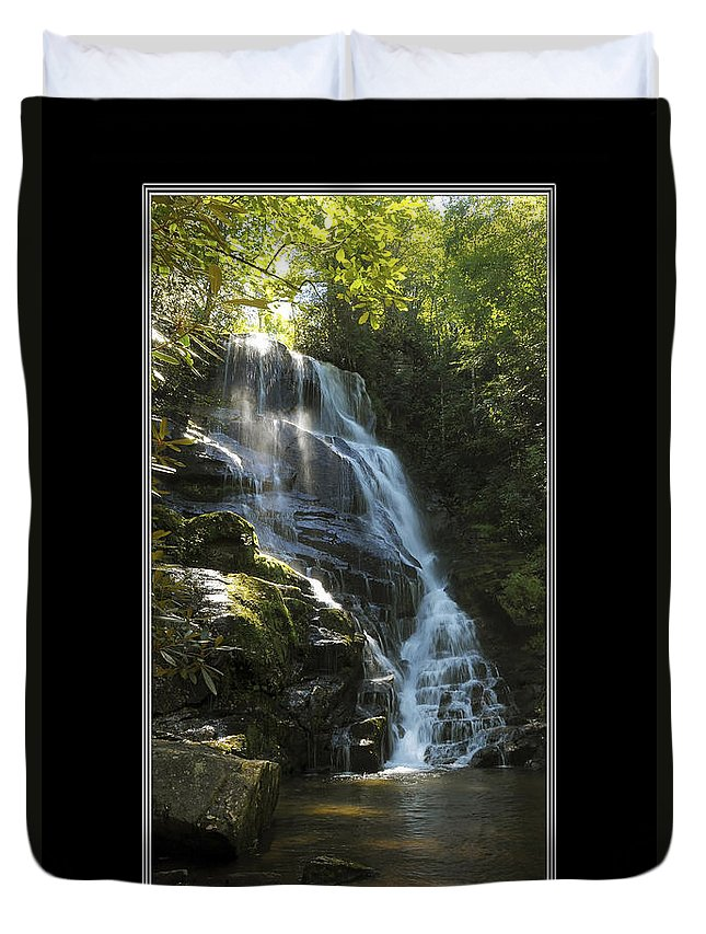 Waterfall Duvet Cover featuring the photograph Eastatoe Falls North Carolina by Charles Beeler