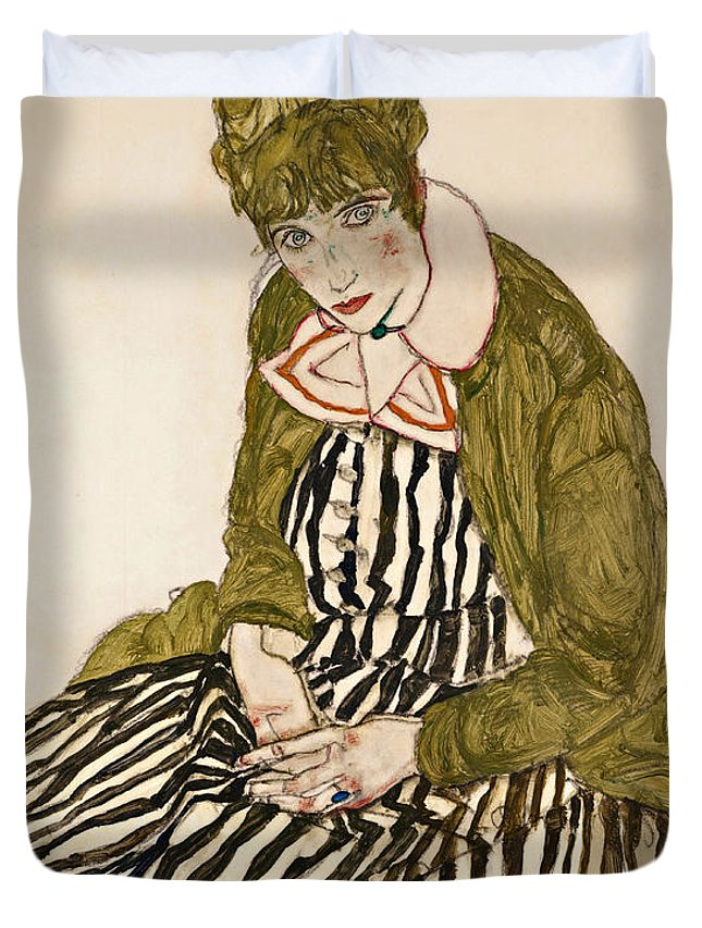 Egon Schiele Duvet Cover featuring the drawing Edith With Striped Dress Sitting by Egon Schiele