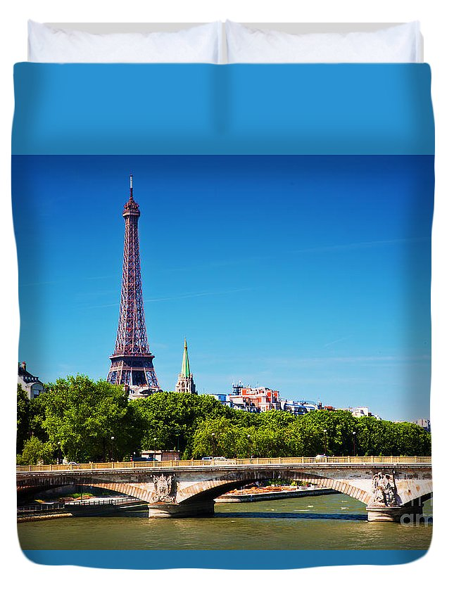 Paris Duvet Cover featuring the photograph Eiffel Tower And Bridge On Seine River In Paris France by Michal Bednarek
