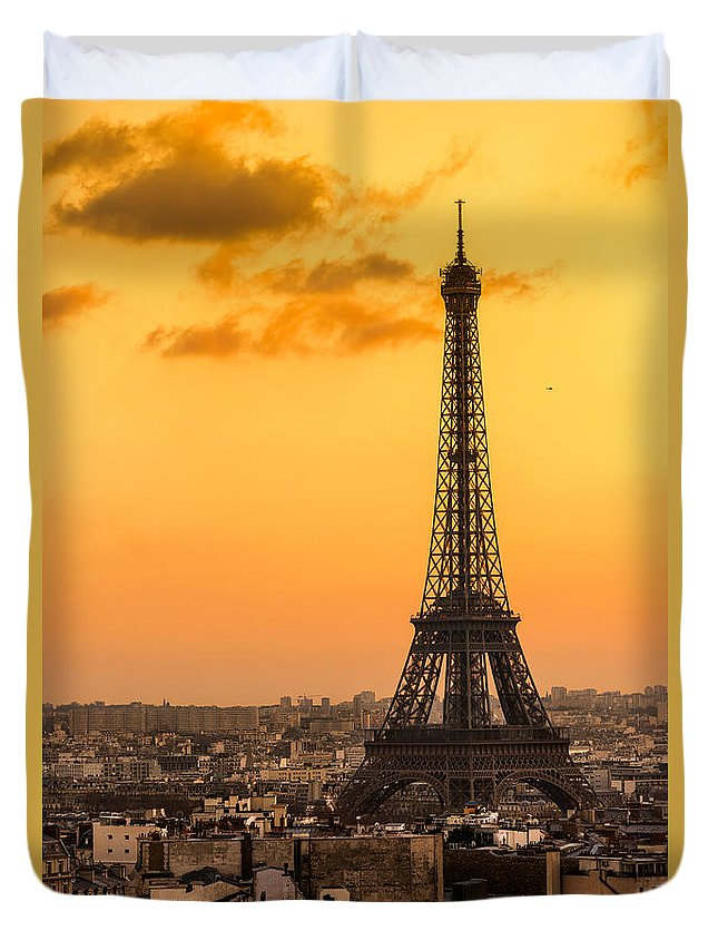 Ancient Duvet Cover featuring the photograph Eiffel Tower At Sunrise - Paris by Luciano Mortula