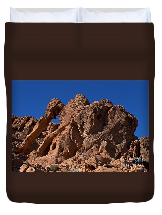 Elephant Rock Duvet Cover featuring the photograph Elephant Rock Valley Of Fire State Park Nevada by Jason O Watson