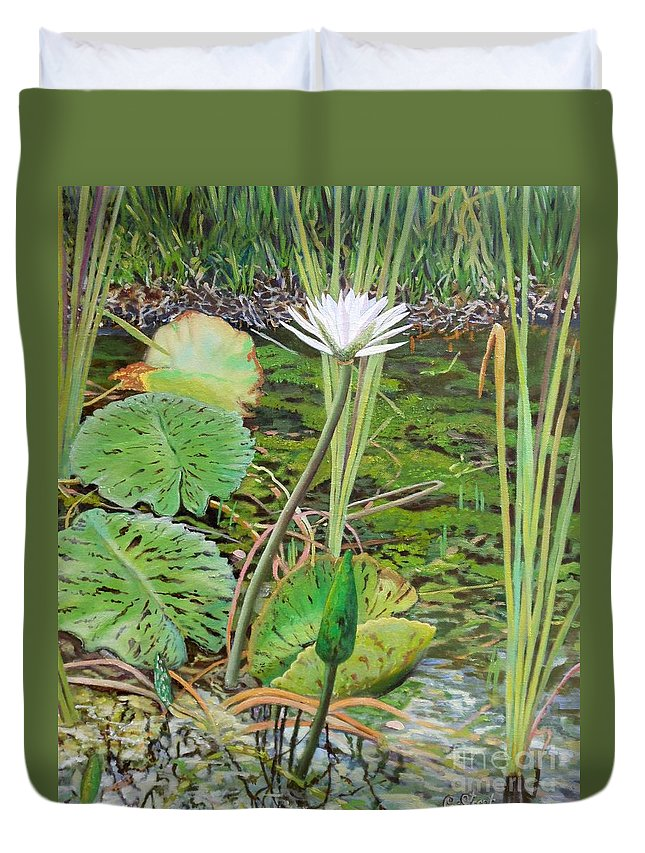 Lily Duvet Cover featuring the painting Emerald Lily Pond by Caroline Street