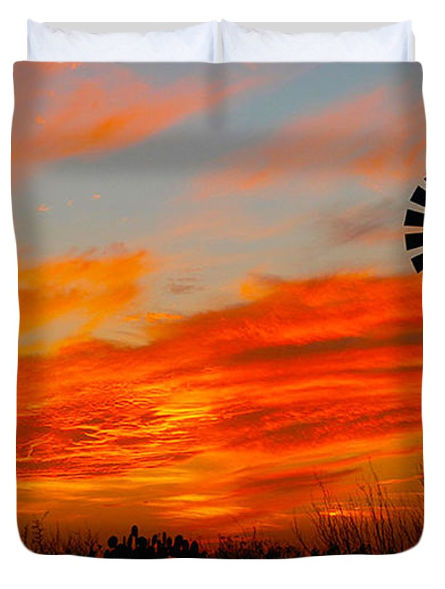 Texas Duvet Cover featuring the mixed media Ennis Sunset Windmill by JR Phillips