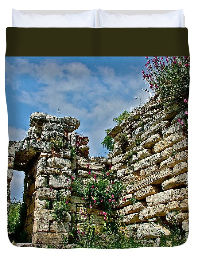 Entry To Saint John's Basilica Grounds In Selcuk Duvet Cover featuring the photograph Entry To Saint John's Basilica Grounds In Selcuk-turkey by Ruth Hager