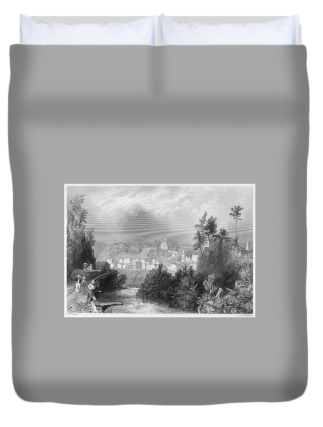 1839 Duvet Cover featuring the painting Erie Canal Little Falls by Granger