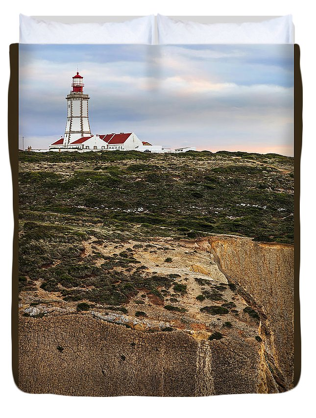 Lighthouse Duvet Cover featuring the photograph Espichel Cape Lighthouse by Jose Elias - Sofia Pereira