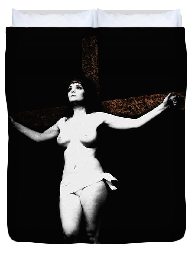 Crucifix Duvet Cover featuring the photograph Experimental Crucifix I by Ramon Martinez