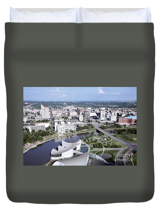 Aerial Duvet Cover featuring the photograph Exploration Place by Bill Cobb