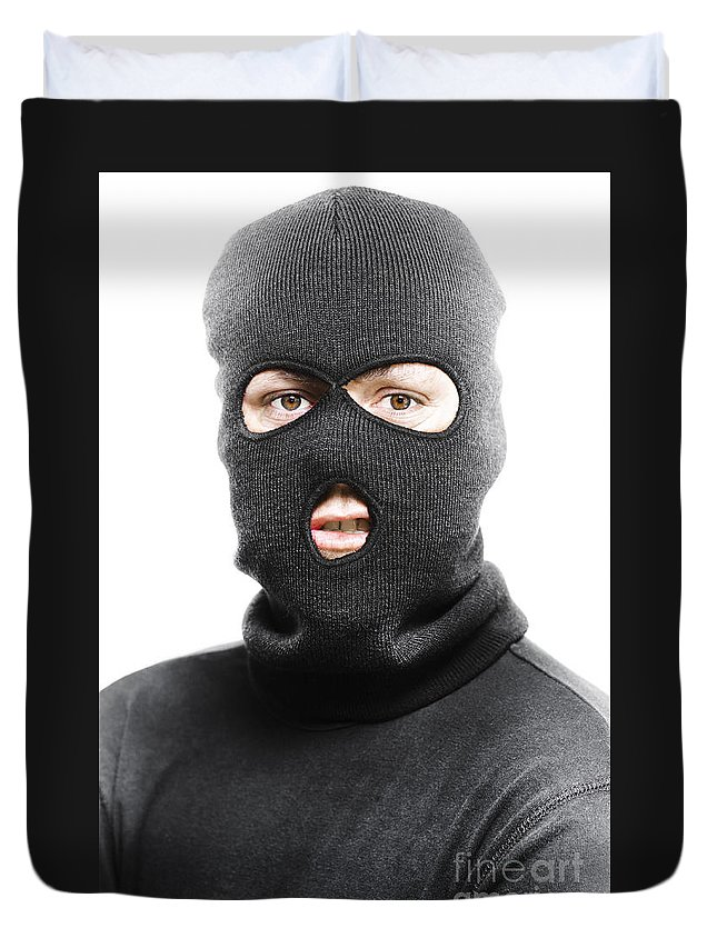 Background Duvet Cover featuring the photograph Face Of A Burglar Wearing A  Ski Mask Or Balaclava e98613d63cc6