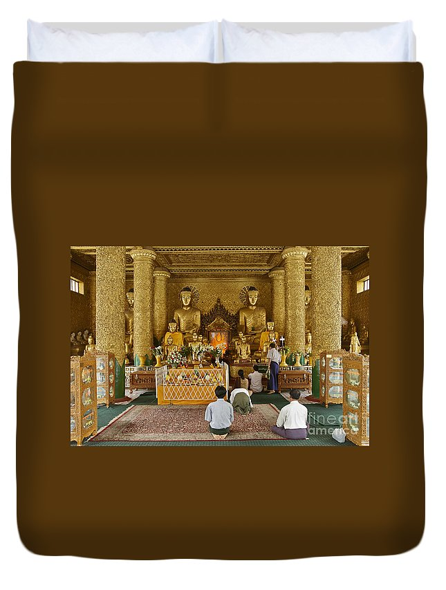 Myanmar Duvet Cover featuring the photograph faithful Buddhists praying at Buddha Statues in SHWEDAGON PAGODA by Juergen Ritterbach