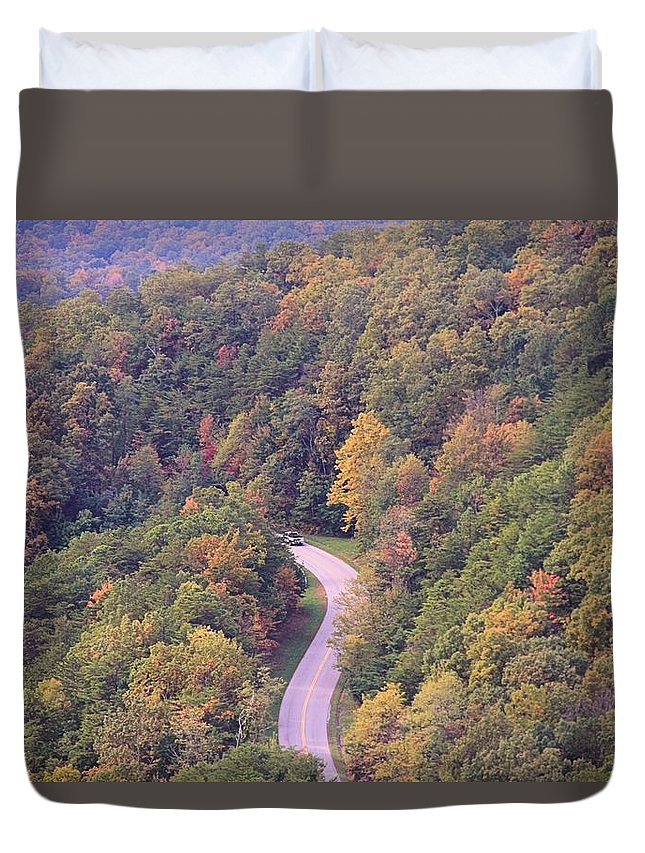 Fall Drive In The Smokies Duvet Cover featuring the photograph Fall Drive In The Smokies by Dan Sproul