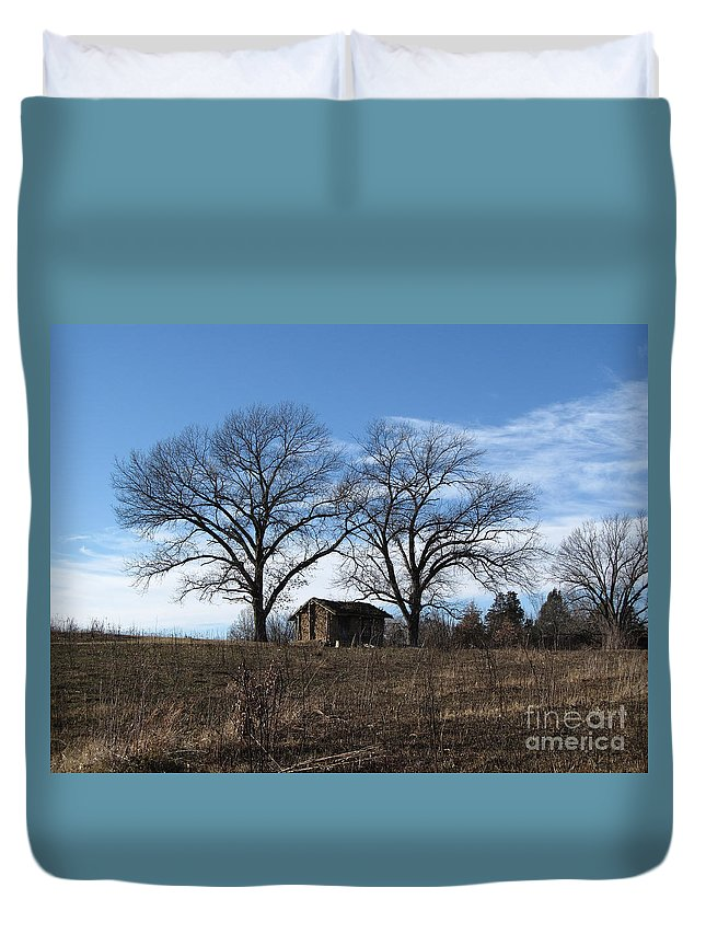 Scenery Duvet Cover featuring the photograph Fall Scene by Jamie Smith