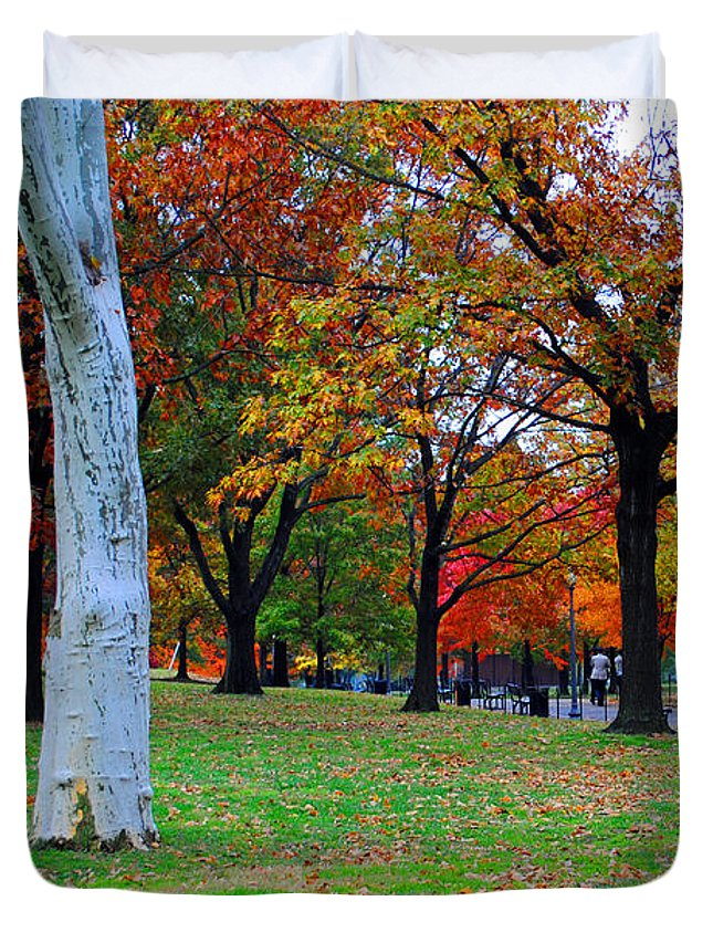 Fall Duvet Cover featuring the photograph Fall Walk by Jost Houk