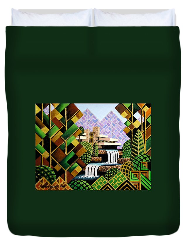 Frank Lloyd Wright Duvet Cover featuring the painting Falling Waters by Bruce Bodden