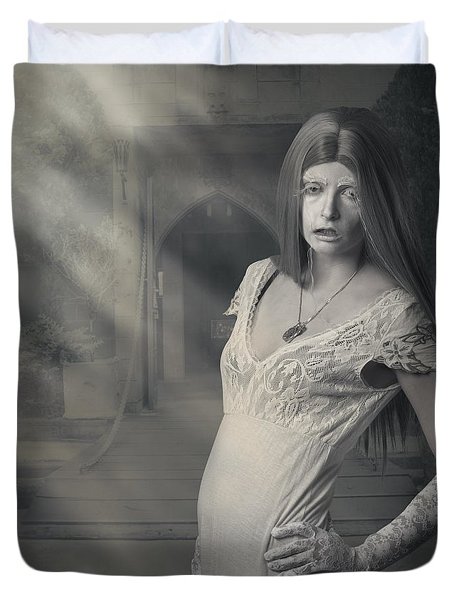 Halloween Duvet Cover featuring the photograph Fantasy Halloween Vampire At Foggy Night Castle by Jorgo Photography - Wall Art Gallery
