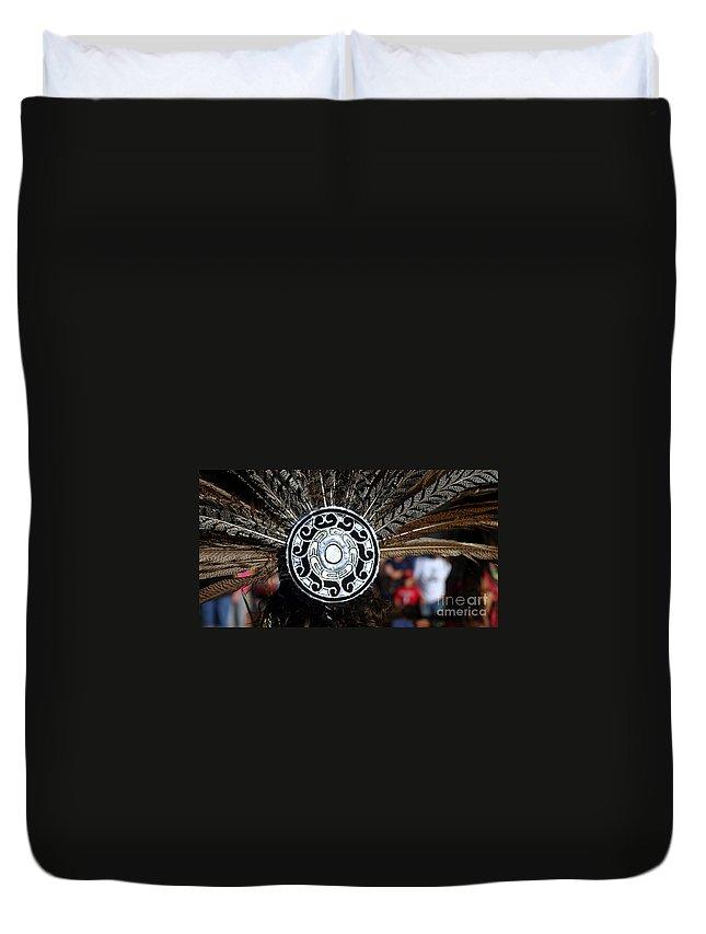 Head Duvet Cover featuring the photograph Feather Headdress by Henrik Lehnerer
