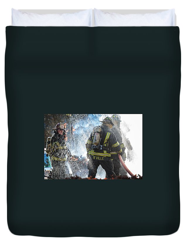 Fire Duvet Cover featuring the photograph Firefighters by Everet Regal