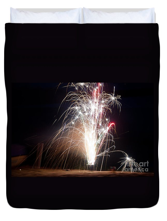 Ice Duvet Cover featuring the photograph Fireworks 9 by Cassie Marie Photography