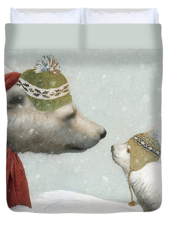 Polar Bear Duvet Cover featuring the drawing First Winter by Eric Fan