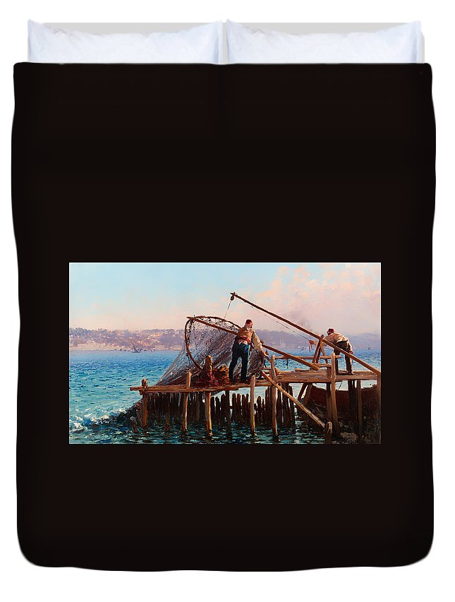 Painting Duvet Cover featuring the painting Fishermen Bringing In The Catch by Mountain Dreams