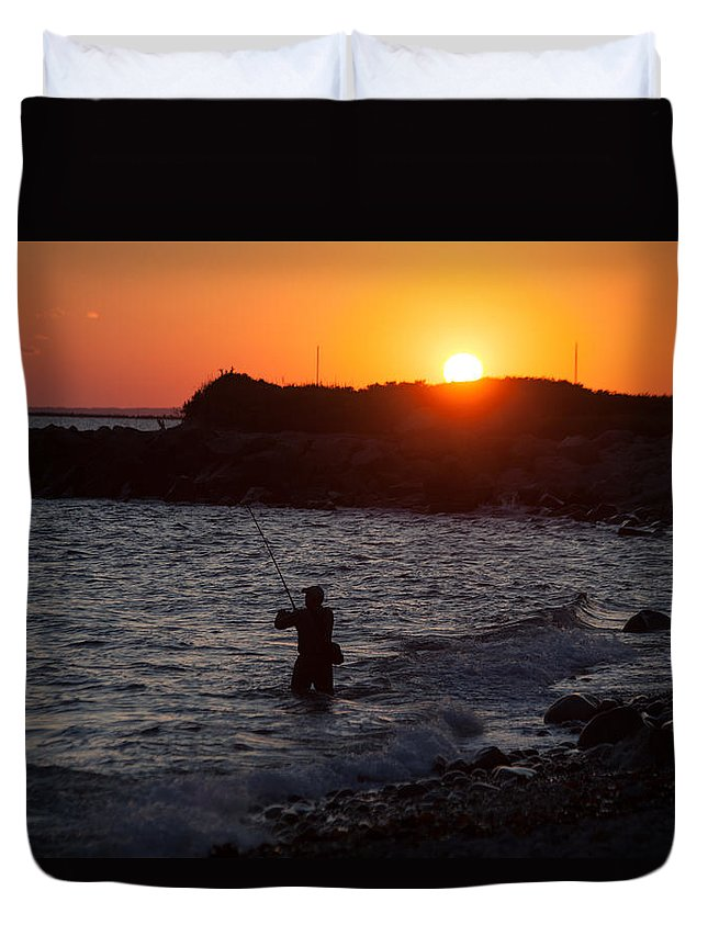 Fishing At Sunset Duvet Cover featuring the photograph Fishing At Sunset by Karol Livote
