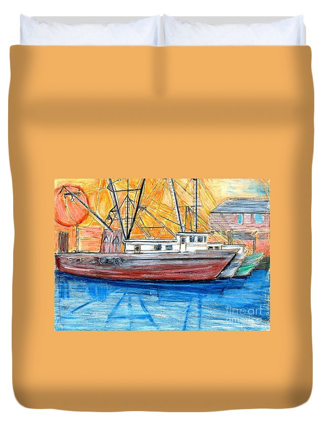 Fishing Duvet Cover featuring the drawing Fishing Trawler by Eric Schiabor