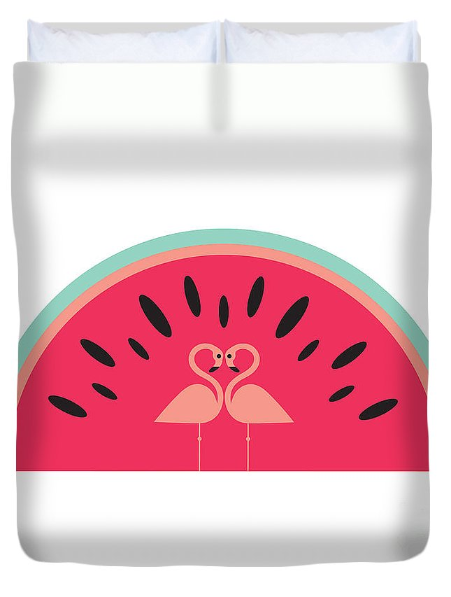 Susan Claire Duvet Cover featuring the digital art Flamingo Watermelon by MGL Meiklejohn Graphics Licensing