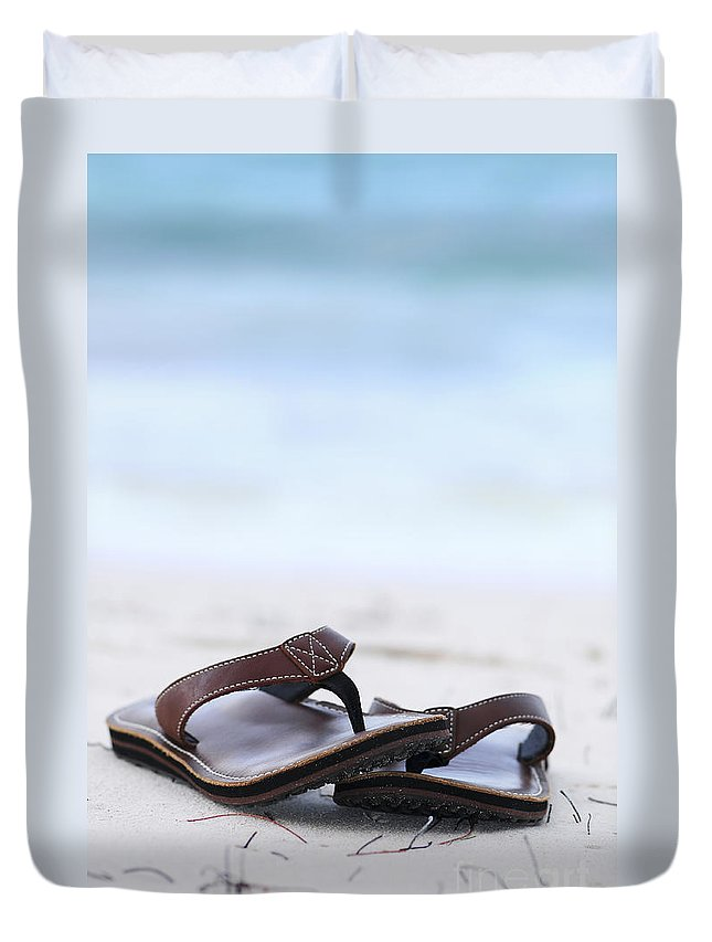 Flip-flops Duvet Cover featuring the photograph Flip-flops On Beach by Elena Elisseeva